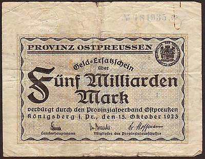 Germany/East Prussia/Russia  Konigsberg / Kaliningrad  5 Milliarden Mark 1923