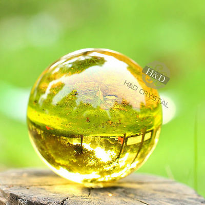 Yellow Asian Rare Natural Quartz Magic Crystal Healing Ball Sphere 40mm + Stand