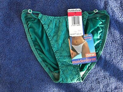 Vintage Maidenform Nylon And Lace String Hipster Bikini Pantie 5 Small NWT