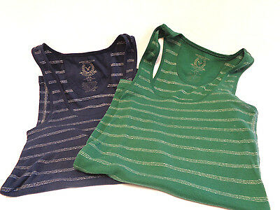 American Eagle (Lot Of 2 Blue @ Green) Womens Silver Stripe Tank Tops Size Small