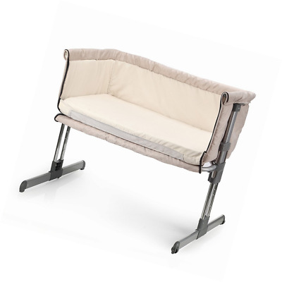 MiClassic Bedside Crib Travel Bassinet Folding Adjustable Portable Baby Cream