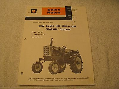 1968 Oliver Sales Notes for the NEW 1850 Extra-High Clearance Tractor