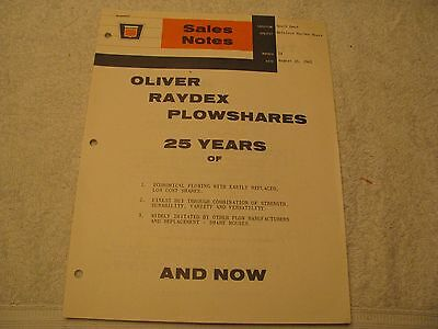 1965 Oliver Raydex Plowshares Sales Notes/New Bolt Less/Parts/ETC