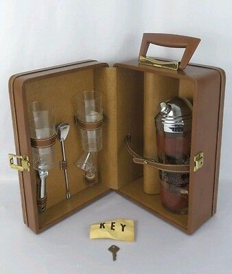 Vintage Luggage Bar Drink Mixing Complete Set Brown Case Leather? & Box Key