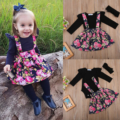 AU Flower Girls Romper Dress Infant Baby Tops+Tutu Skirt Kids Dress Outfits Set
