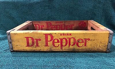 Vintage Old Wooden Dr Pepper Crate Yellow - Open, No Sections