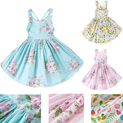 AUStock Baby Girl Xmas Flower Sleeveless Tulle Party Skirt Toddler Dress Clothes