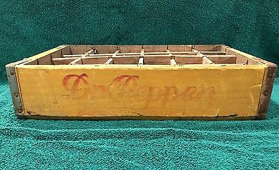 Vintage Old  Wooden Dr Pepper Crate  24 Slot Box Yellow Elyria, Ohio