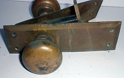 "EARLY Arts and Crafts BRASS DOORKNOB SET Brass, Working 7"" x 2.5"""