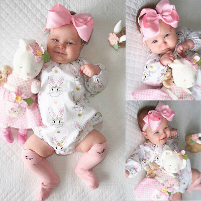 AU Stock Infant Baby Girls Bodysuit Romper Jumpsuit Outfits Long Sleeve Clothes