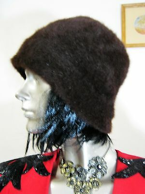 Fabulous Vintage Brown Angora Pull On Hat/beanie.