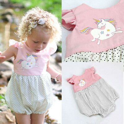 AUStock Infant Newborn Baby Girl Unicorn Jumpsuit Romper Bodysuit Outfit Clothes