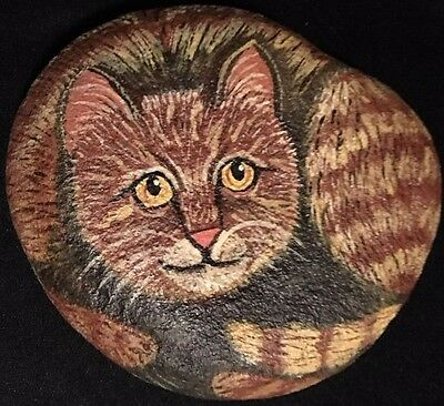 Painted River Rock ORANGE TABBY CAT Kitty Kitten SIGNED ORIGINAL  B. Taylor '95