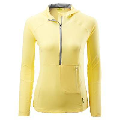 Kathmandu Flinders Womens Hooded 1/2 Zip Top Long Sleeve Hiking Shirt Yellow