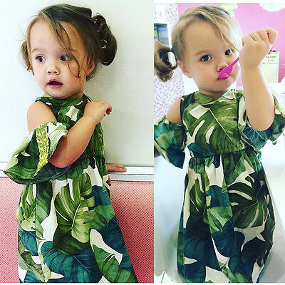 AU Stock leaf Navy Bow Baby Girl Toddler Summer Cool Sleeveless Cotton Dress Top