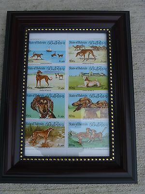 Bahrain Postage Stamps Gazelles Bahrain 8 MNH Block Framed Beautiful Dog Art