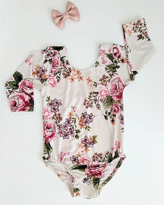 AU Stock Kids Baby Girls Toddler Floral Romper Bodysuit Jumpsuit Outfits Clothes