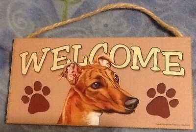 """WELCOME"" Pressed Wood Sign with pic of GreyHound"