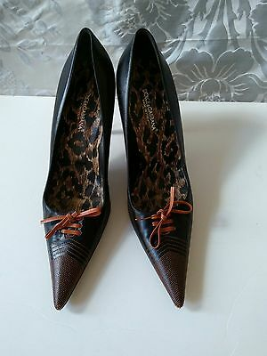 Dolce & Gabbana Italy Black Leather Pointy Toe Pump Heel 40/9 Excellent