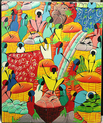 Vintage Oil Painting On Canvas - Colorful Tropical Folk Art - Signed