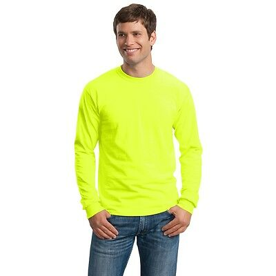Long Sleeve SAFETY GREEN Adult Neon Green Plain High Visibility T-Shirts