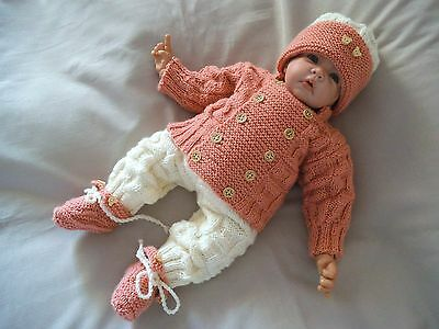 Hand Knitted Baby Clothes 4 Piece Pram Set Outfit 0 - 3 Months Reborn Baby Doll
