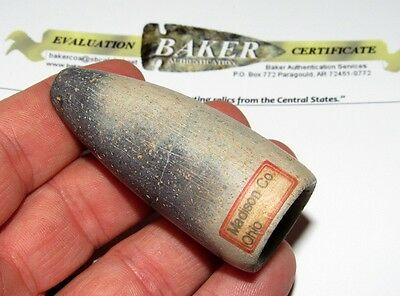 Authentic G-10 Pipestone Medicine Tube Peace Pipe Indian Artifact COA Arrowhead