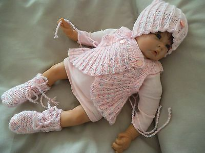 Hand Knitted Baby Clothes 3 Piece Wrap Set Outfit 0 - 3 Months SPARKLY and SOFT