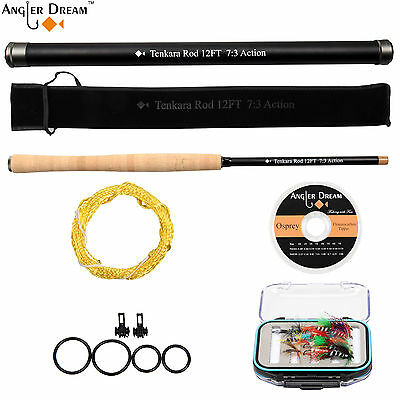 12/13FT Tenkara Combo Carbon Fiber Fly Fishing Rod Flies & Box Furl Leader Line