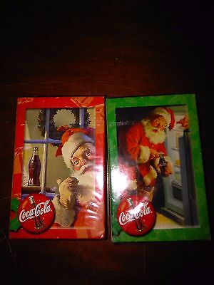 2 PACKS OF PLAYING CARDS NEVER OPENED COCA COLA Santa