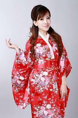 Red Japanese kimono Yukata Geisha Best Dress Women Gown Haori  Floral with Obi!