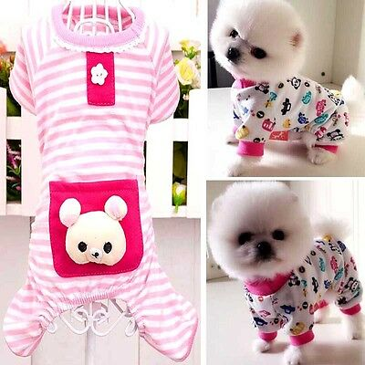 Puppy Pajamas Clothes Pet Dog Cotton Cartoon Sleepwear Jumpsuit Shirt Apparel