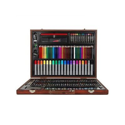 167 Piece Complete Paint Drawing Art Kit Set Stylish Wooden Storage Case New Unb