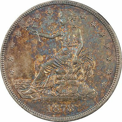 1878-S T$1 Trade Seated Liberty Silver Dollar w/Toning Color