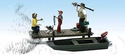 Family Fishing + Accessories - N SCALE - Model Train Layout - Woodland A2203