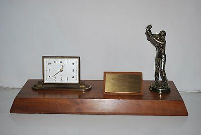 Vintage 1961 LBNS Golfing Trophy And German Wind Up Clock Works Mid Century