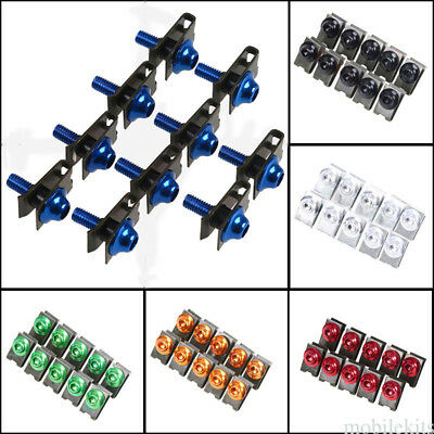 10x Motorcycle Body Fairing Clips M5 Bolt Screw Speed Fastener Nuts New
