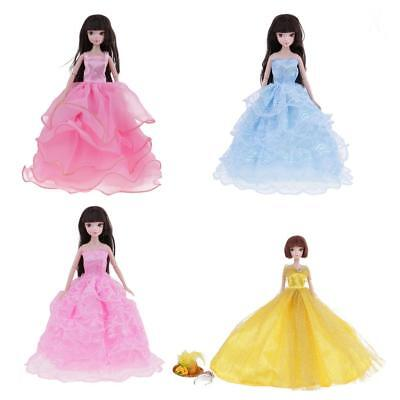4 Doll Dress Clothes Gown Hat Crown Outfits for Barbie Dolls Girls Xmas Gift