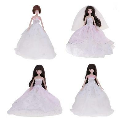 4x Princess Wedding Party Dress Clothes Gowns with Veil Hat for Barbie Dolls