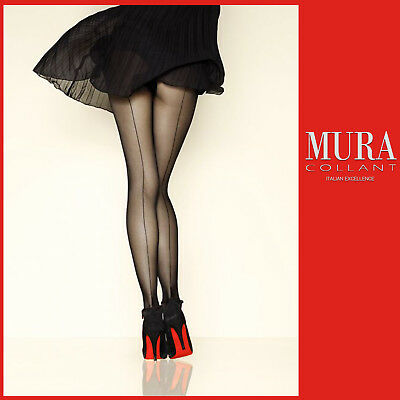 Mura Sexy Italian Pantyhose Tights Sheer Stockings With Fashion Back Line