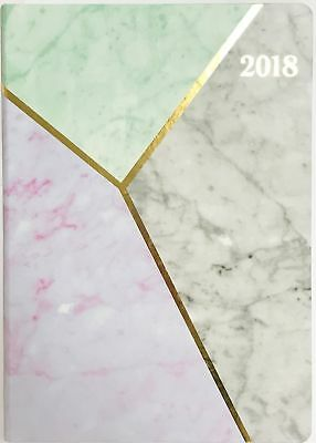 2018 A4 Carnegie Diary Week to An Opening - Marble Pattern