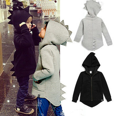 AU Stock Kids Boys Girls Long Sleeve Dinosaur Jacket Coat Hooded Outerwear