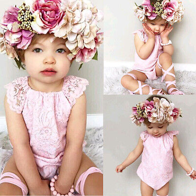 AU Stock Sweet Baby Girls Kid sleeveless Romper Jumpsuit Toddler Clothes Outfits