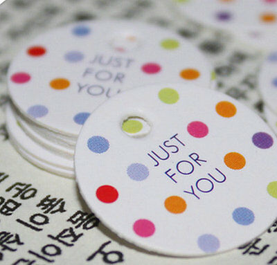 100 Colorful Party Decorations Paper tag cards Dots Gift Tag 'Just for you' 20mm