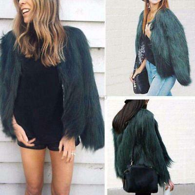 Women Winter Faux Fur Short Coat Jacket Ladies Warm Long Sleeve Outwear S-3XL US