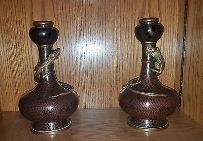 Antique Asian Chinese Cloisonne Enamel Garlic Neck Dragon Vases Pairs
