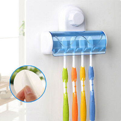 New 5 in 1 White Bathroom Decor Stong Wall Mount Stand Suction Toothbrush Holder