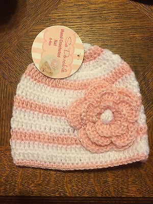 Baby Girl Photo Prop Hand Crocheted Hat/Diaper Cover Pink/White 0-6M ADORABLE!