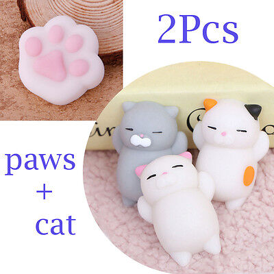 AU Stock 2PCS Cat Squishy Healing Squeeze Fun Kid Toy Gift Stress Reliever Decor