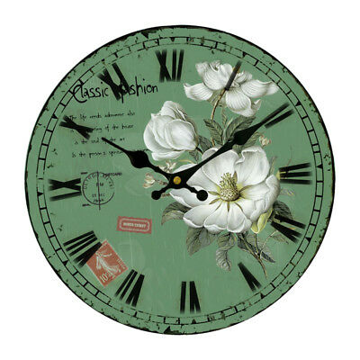Round Country Wooden Wall Clock Antique Shabby Art Work 34cm For Home Office